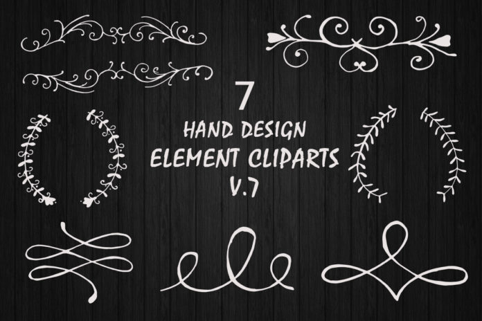 Free Hand Design Element Cliparts V7