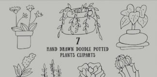 Free Handmade Doodle Potted Plants Cliparts