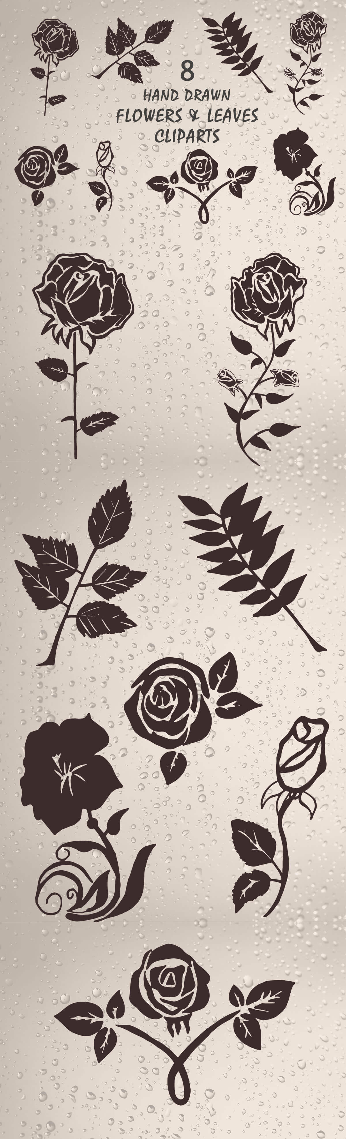 Free Handmade Flowers & Leaves Cliparts
