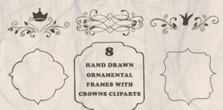 Free Handmade Ornamental Frames With Crowns Cliparts