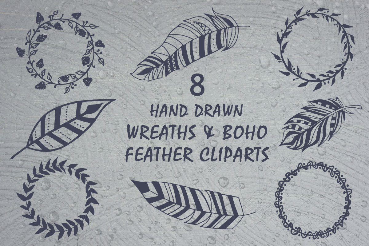 Free Handmade Wreaths & Boho Feather Cliparts