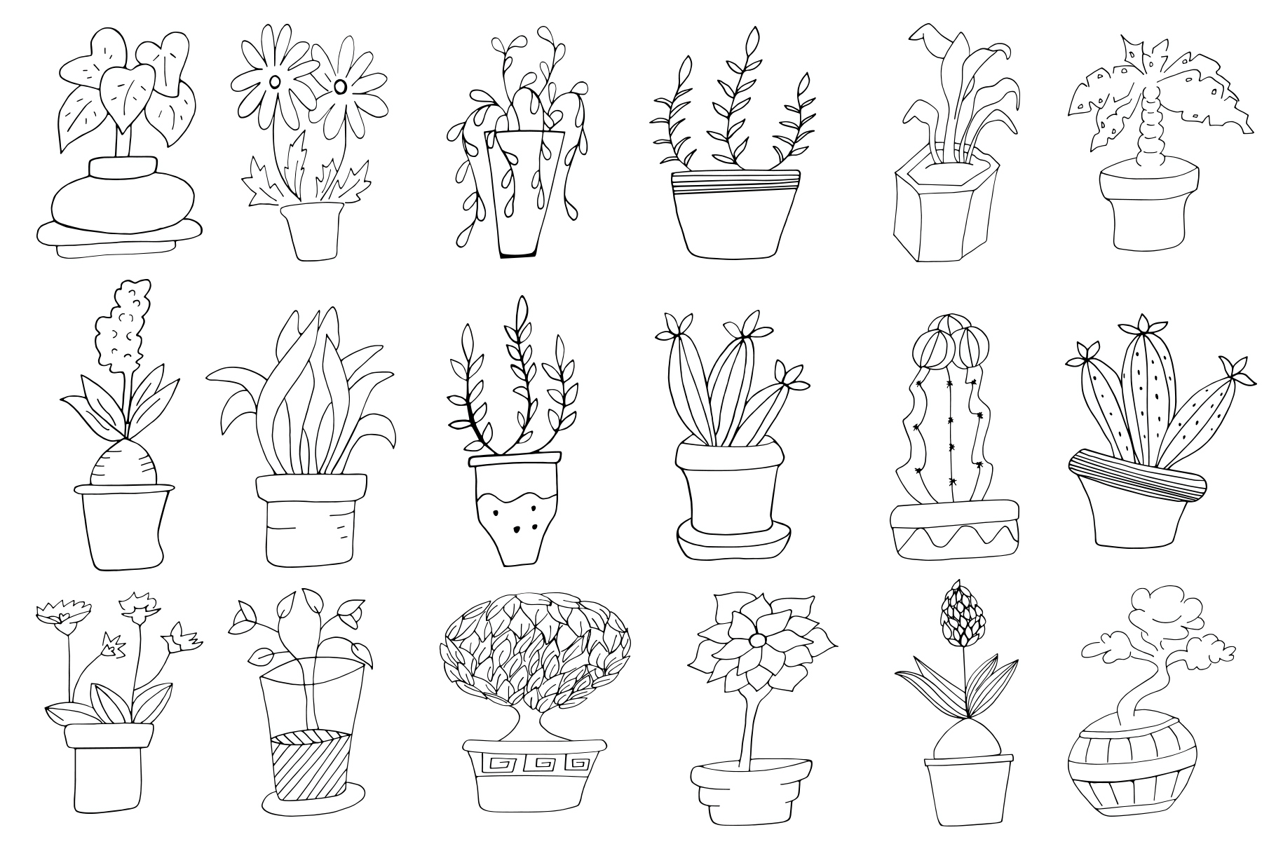 30+ Hand Drawn Doodle Potted Plants Cliparts