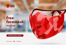 Free Face Red Mask Mockup