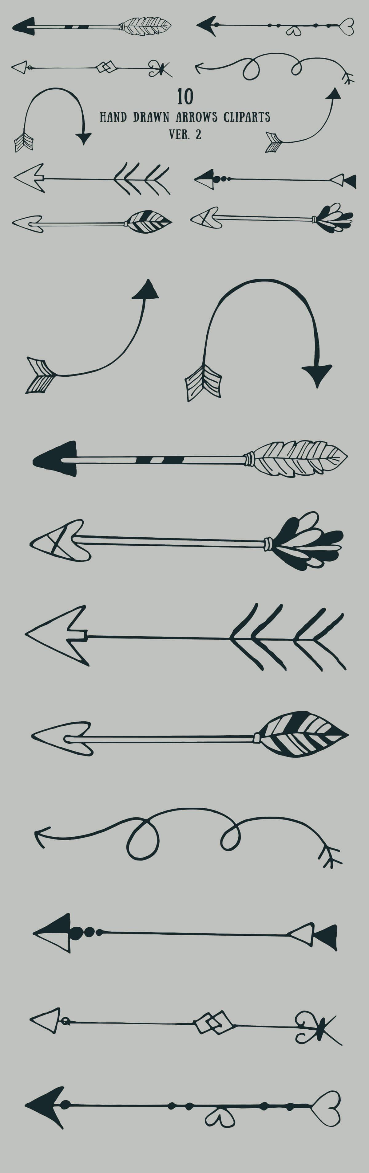 Free Handmade Arrows Cliparts V2