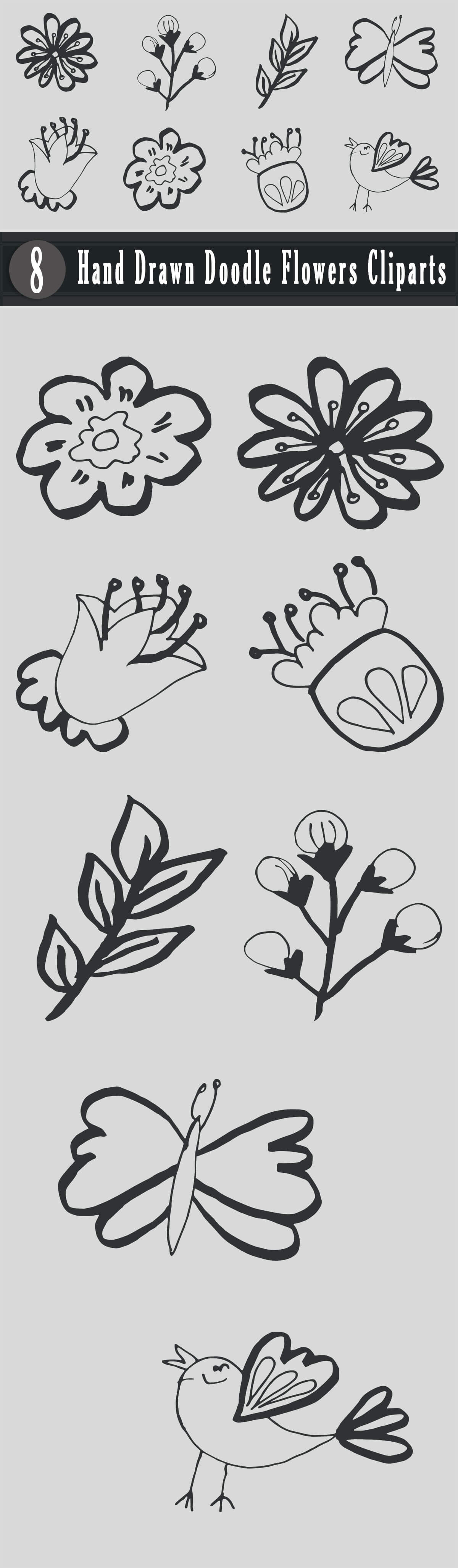 Free Handmade Doodle Flowers Cliparts