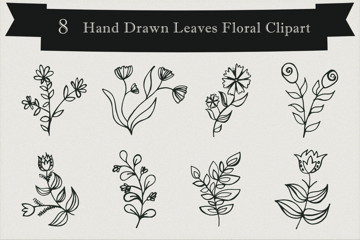 Free Handmade Leaves Floral Clipart