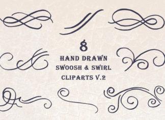 Free Handmade Swoosh & Swirl Cliparts V2