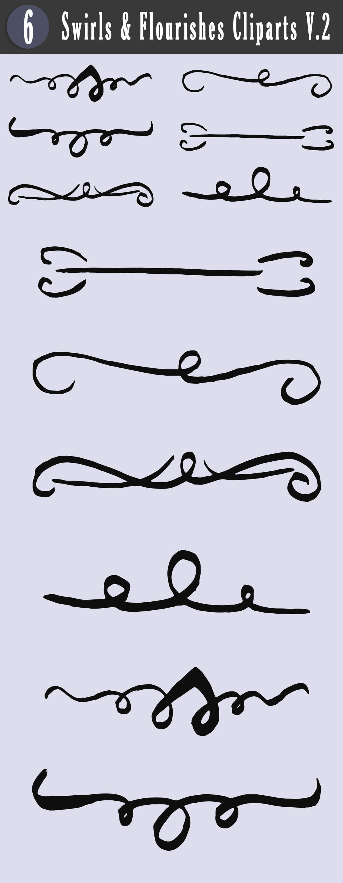 Free Swirls & Flourishes Cliparts V2