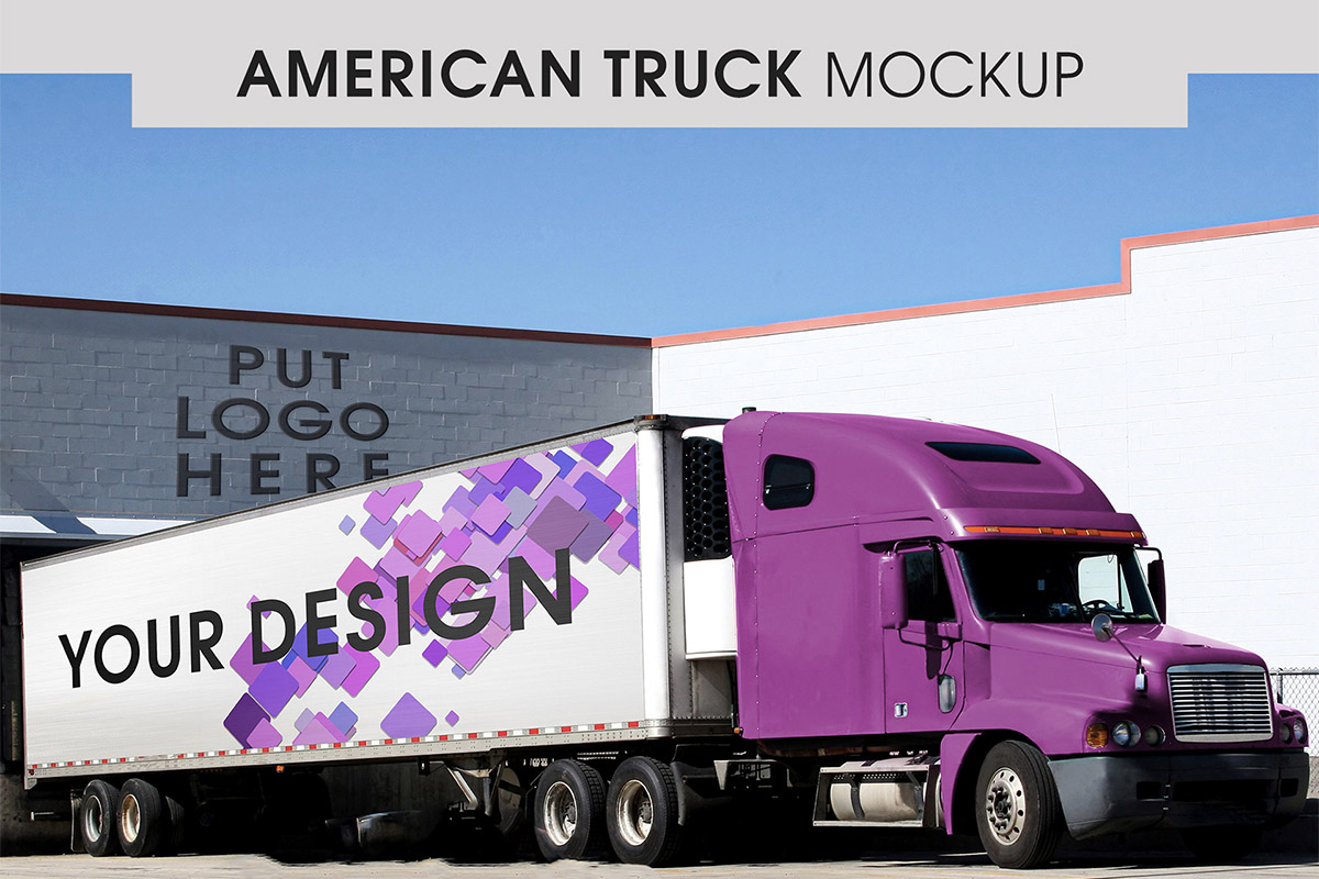 Free American Truck Mockup
