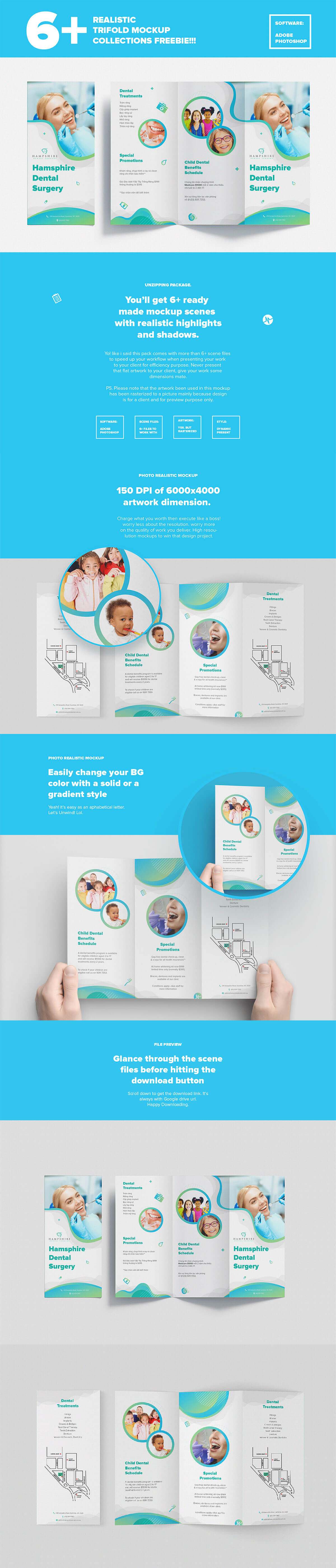 Free Trifold Brochure Mockups