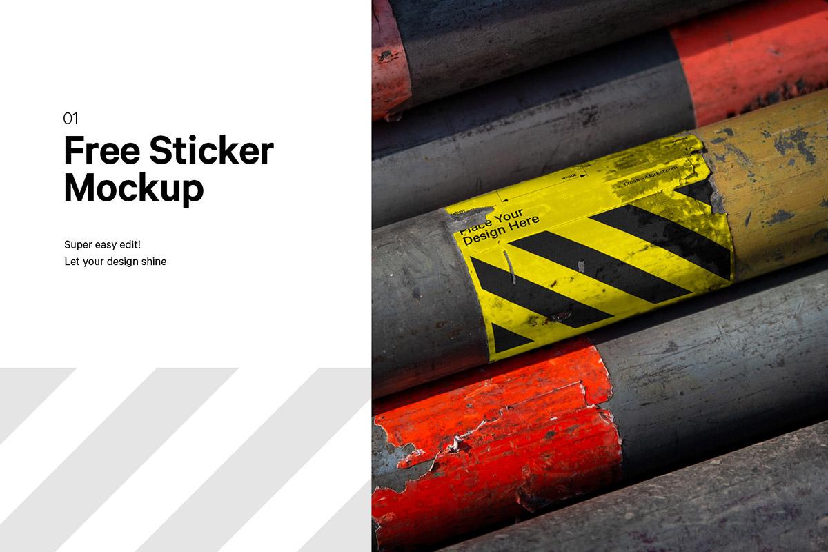 Free City Sticker Mockup