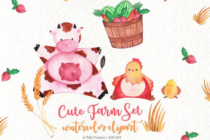 Free Cute Farm Watercolor Clipart
