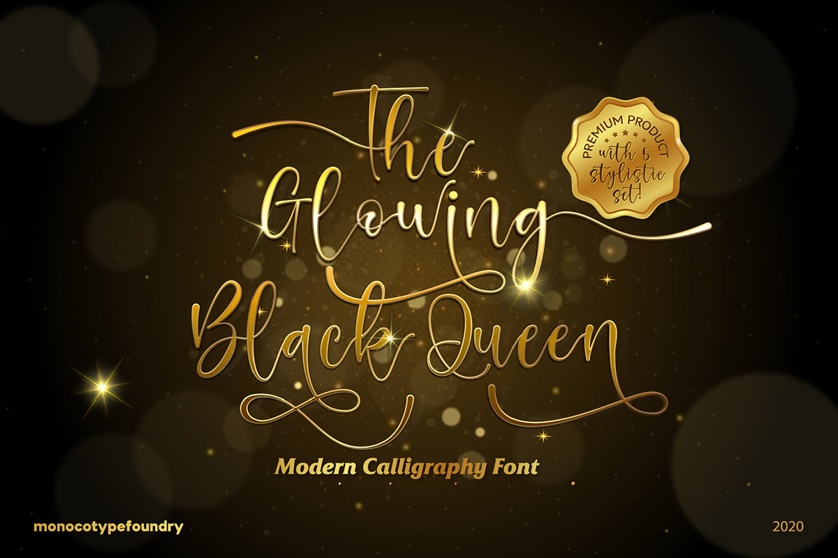 Free Glowing Black Queen Calligraphy Font