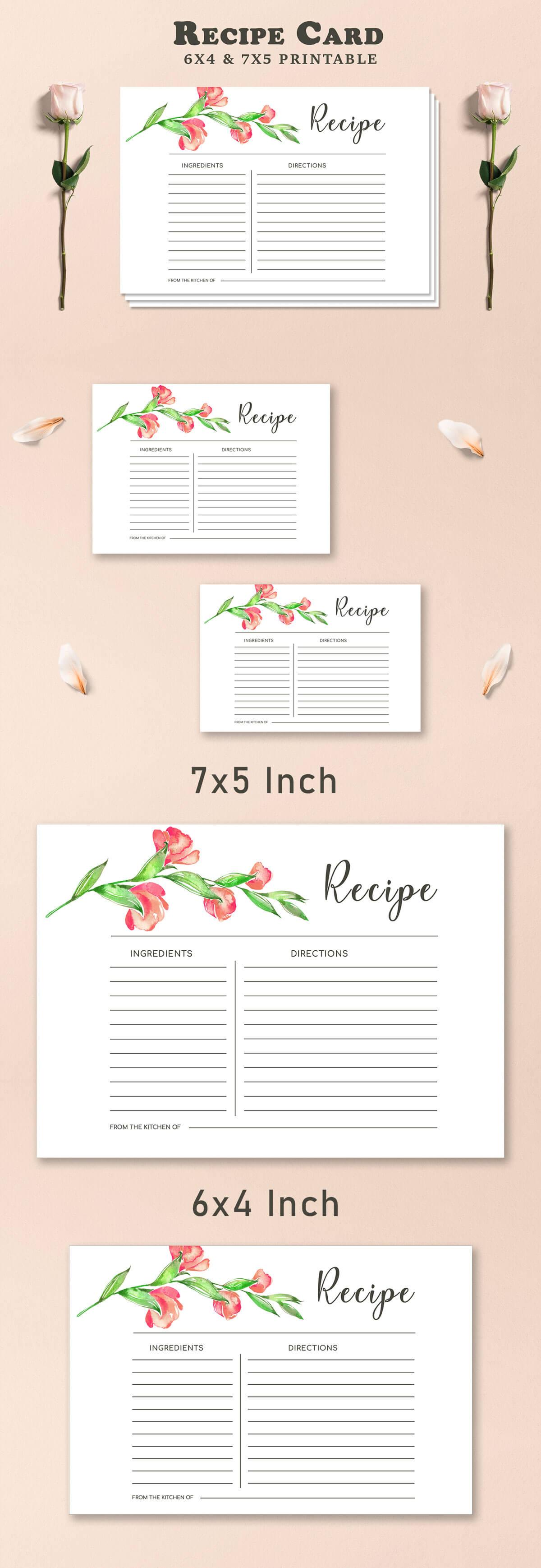Free Recipe Card Printable Template V2