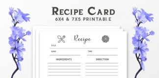 Free Recipe Card Printable Template V4