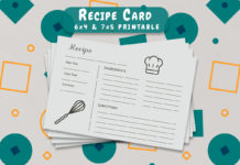 Free Recipe Card Printable Template V6