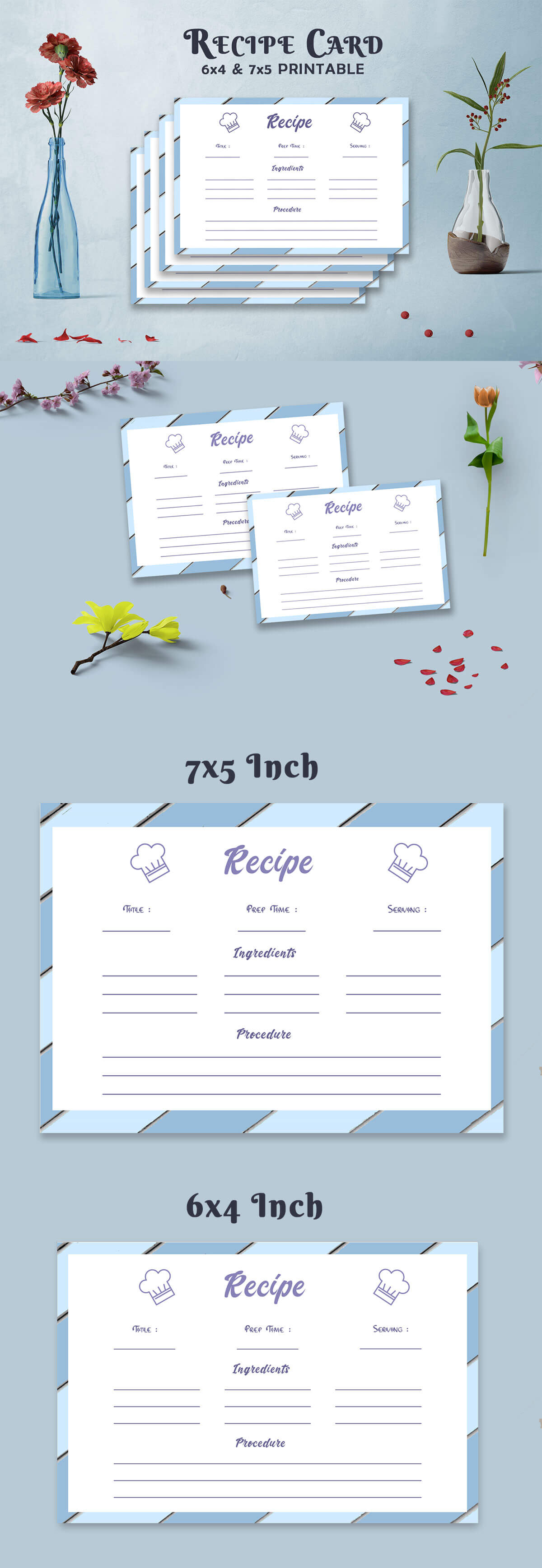 Free Recipe Card Printable Template V10