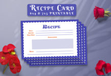 Free Recipe Card Printable Template V11