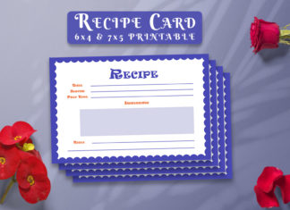 Free Recipe Card Printable Template V11
