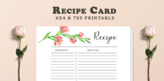 Free Recipe Card Printable Template V2