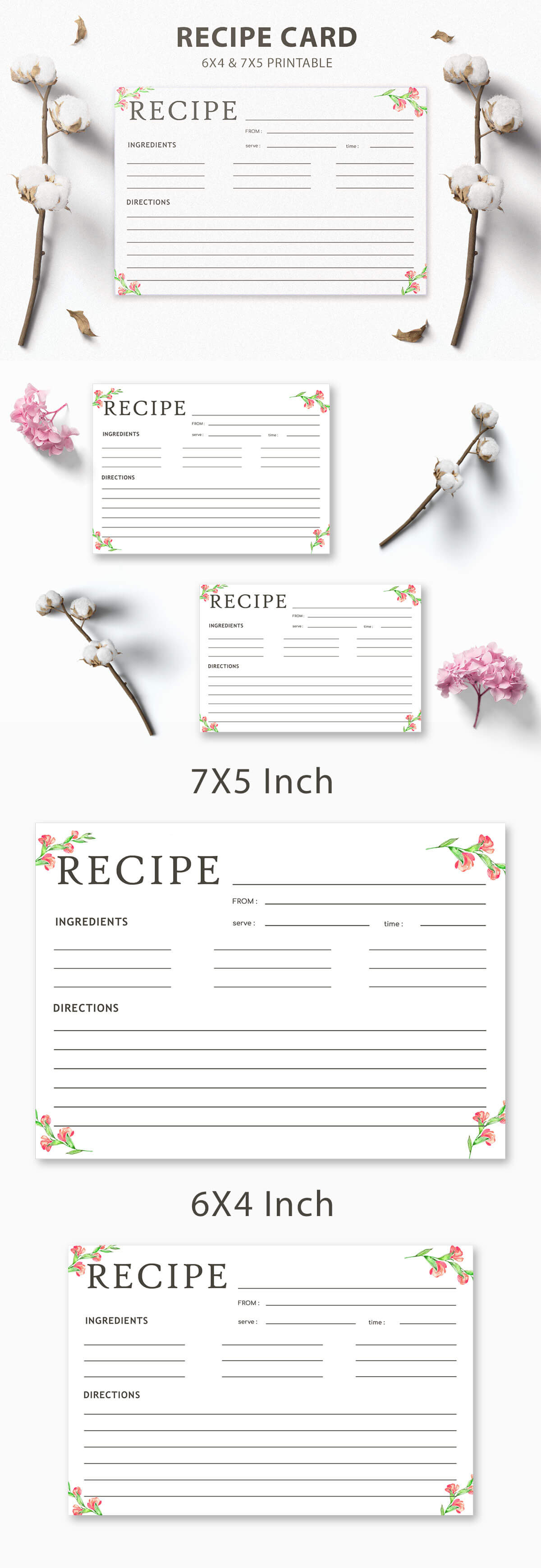 Free Recipe Card Printable Template V3
