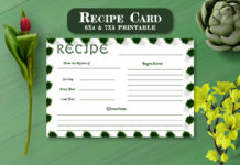 Free Recipe Card Printable Template V8