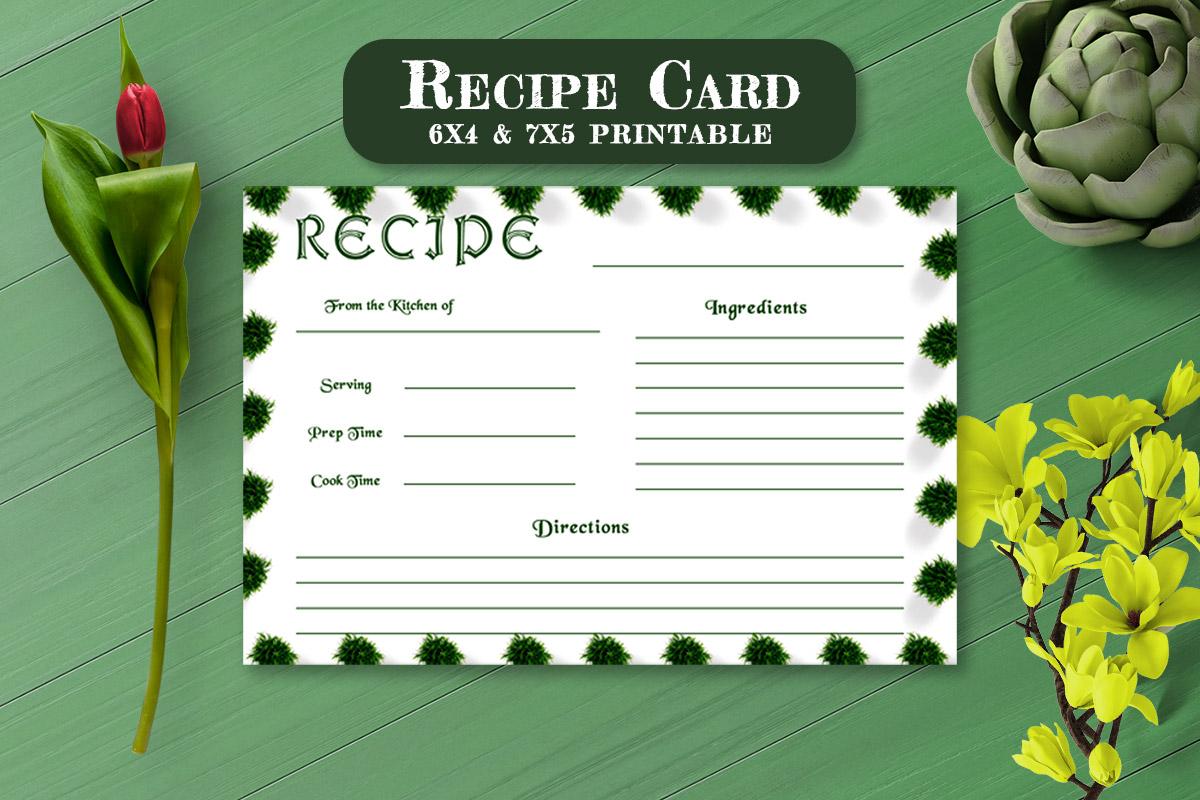 Free Recipe Card Printable Template V8