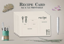 Free Recipe Card Printable Template V9