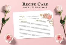 Free Recipe Card Printable Template V1