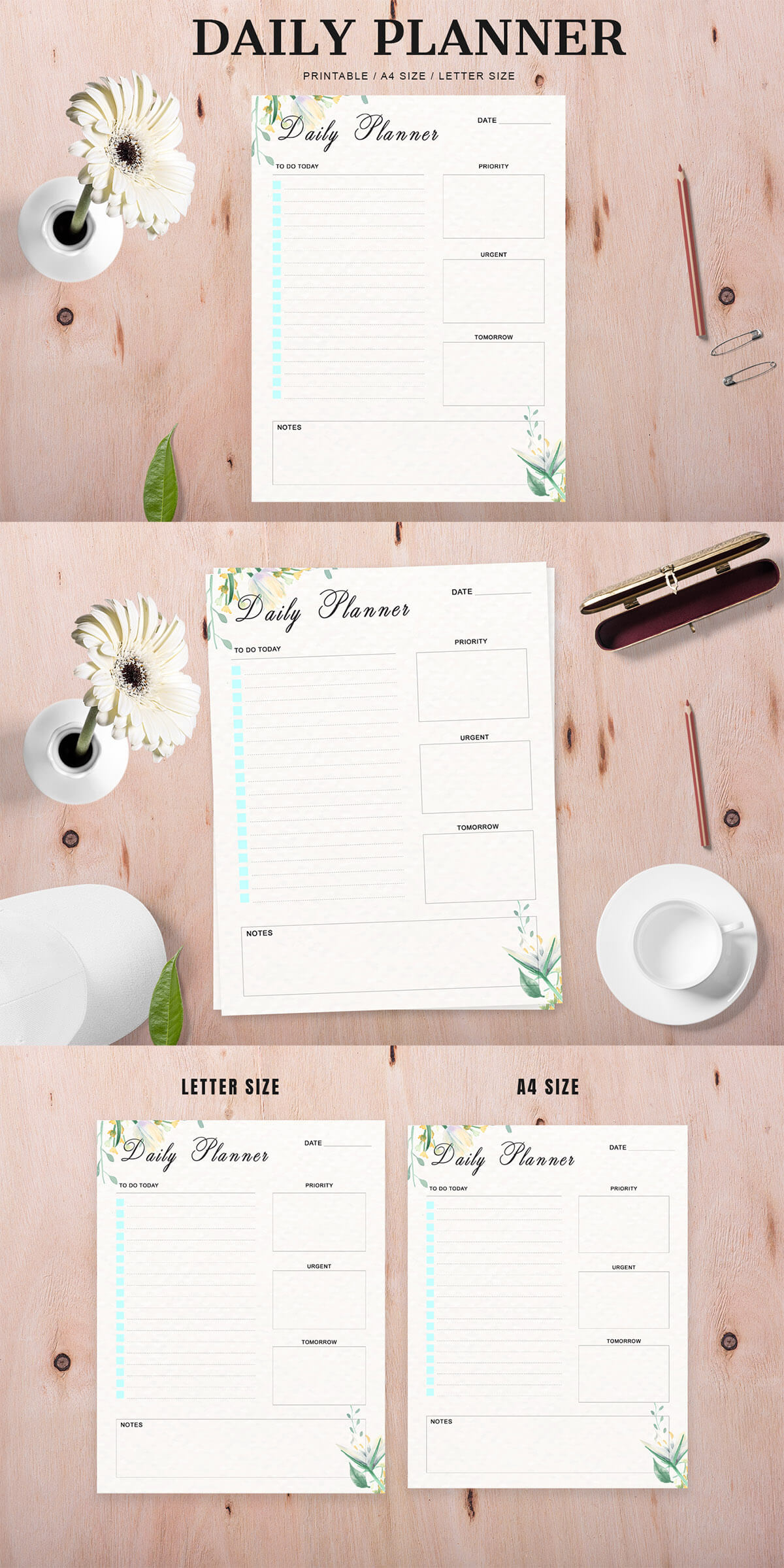 Free Modern Daily Planner Printable