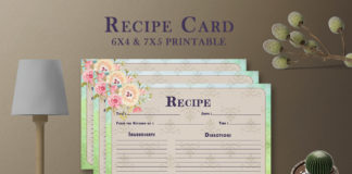 Free Artistic Floral Recipe Card Template V27