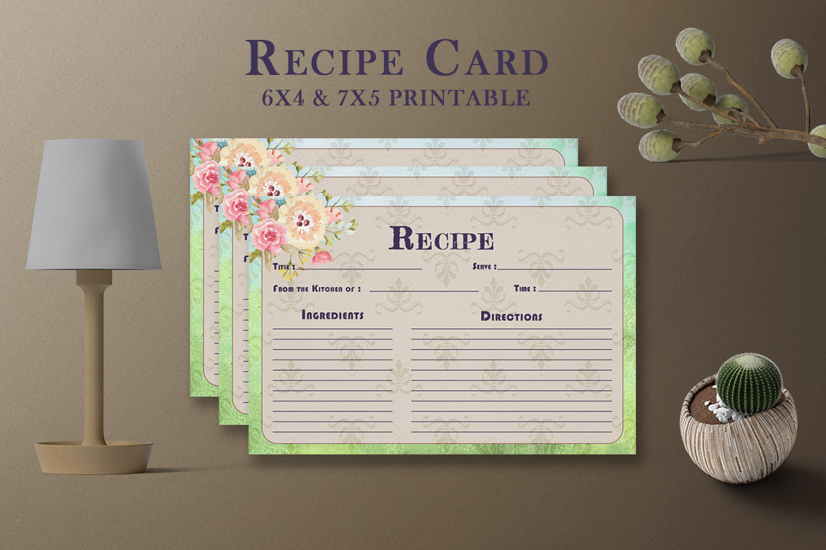 Free Artistic Floral Recipe Card Template V27