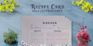Free Dark Floral Recipe Card Template V26