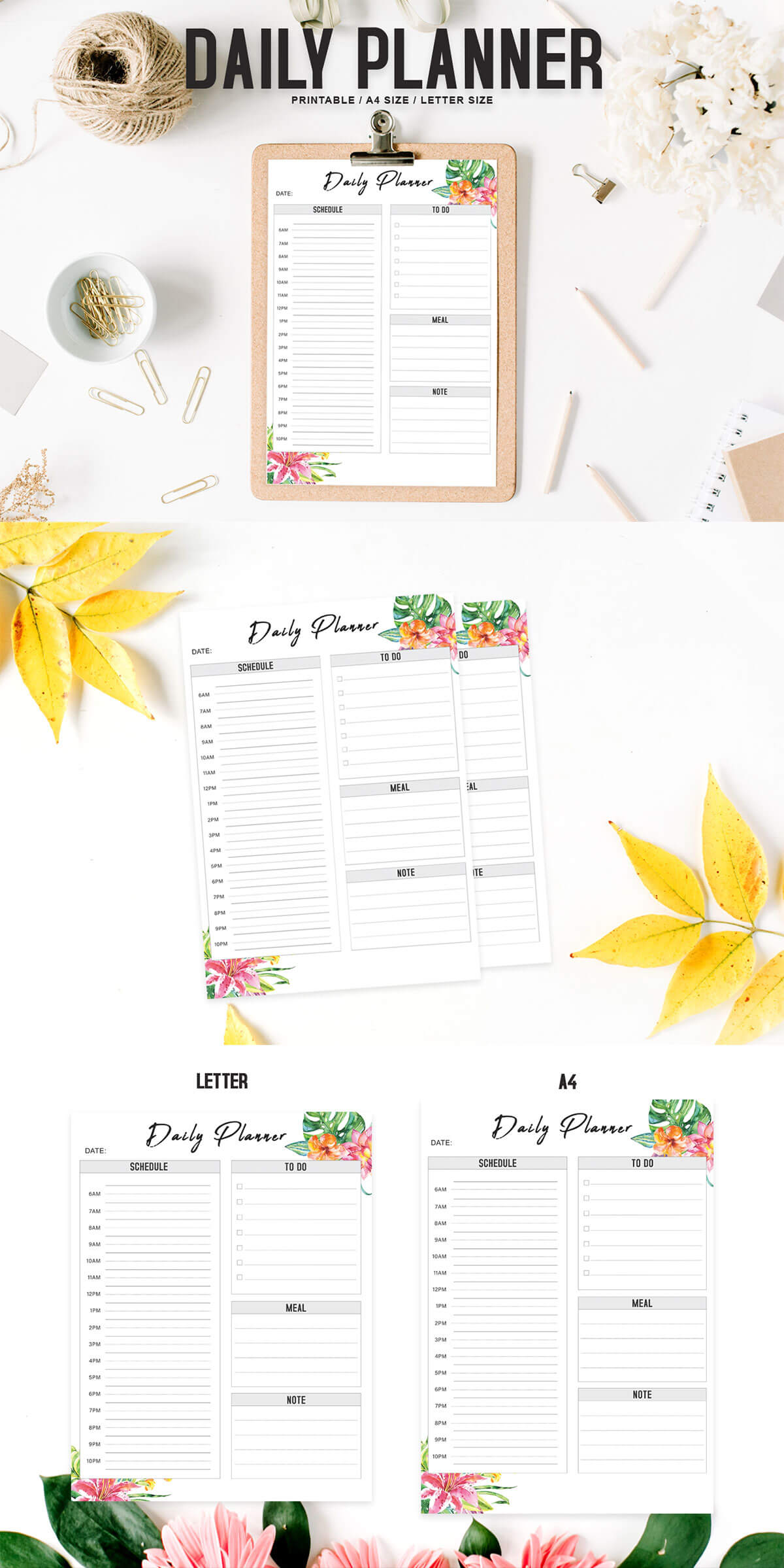 Free Floral Daily Planner Printable