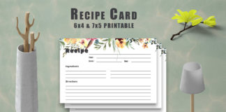 Free Floral Recipe Card Printable V33