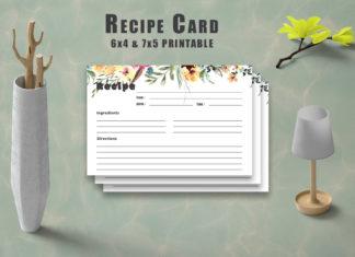 Free Floral Recipe Card Printable V33