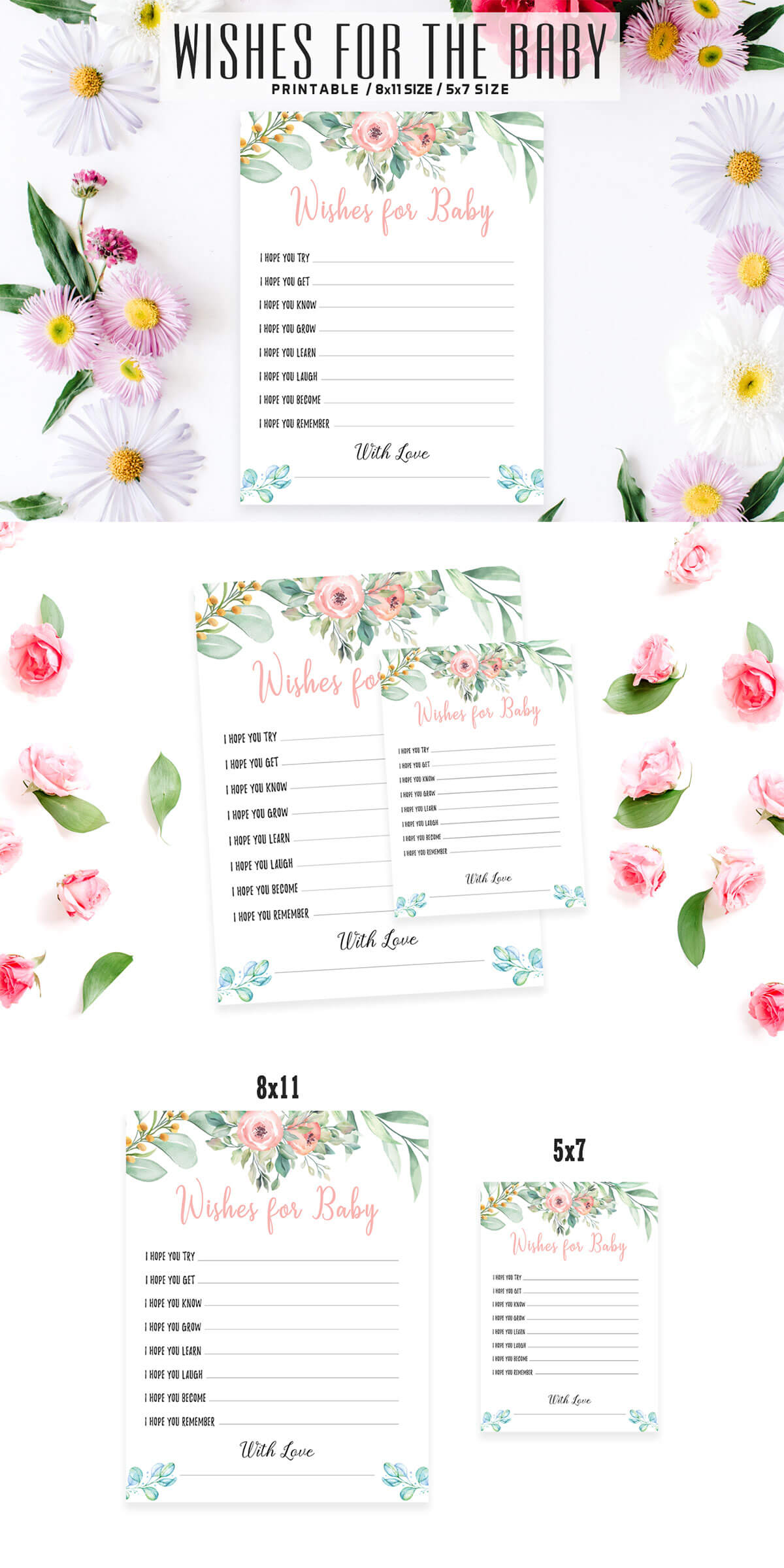 Free Floral Wishes For The Baby Printable V2