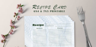 Free Modern Recipe Card Template V23