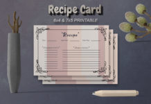 Free Recipe Card Printable Template V20
