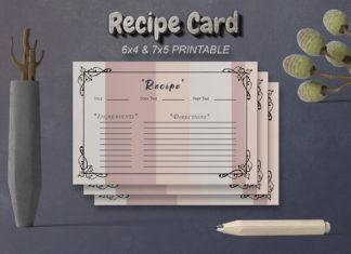 Free Recipe Card Printable Template V20