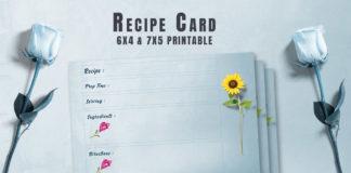Free Recipe Card Printable Template V13