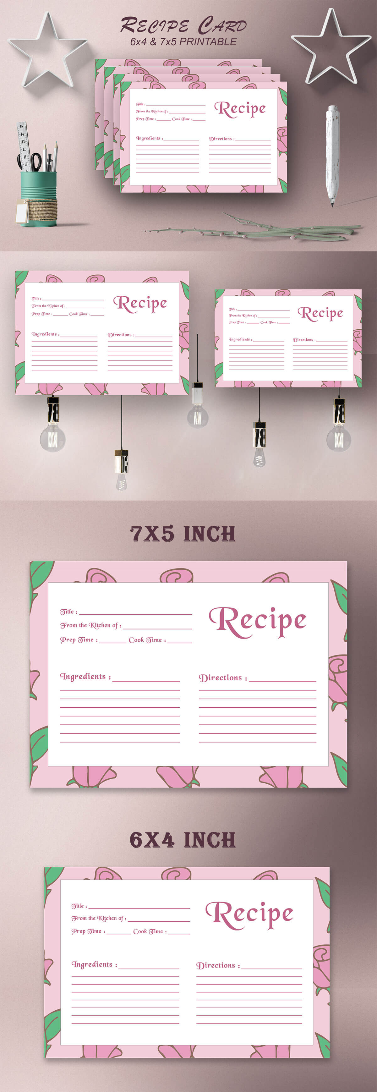 Free Recipe Card Printable Template V15