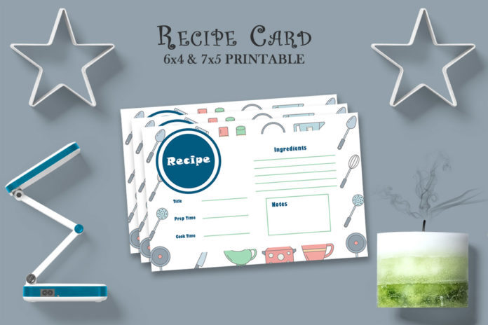Free Recipe Card Printable Template V16