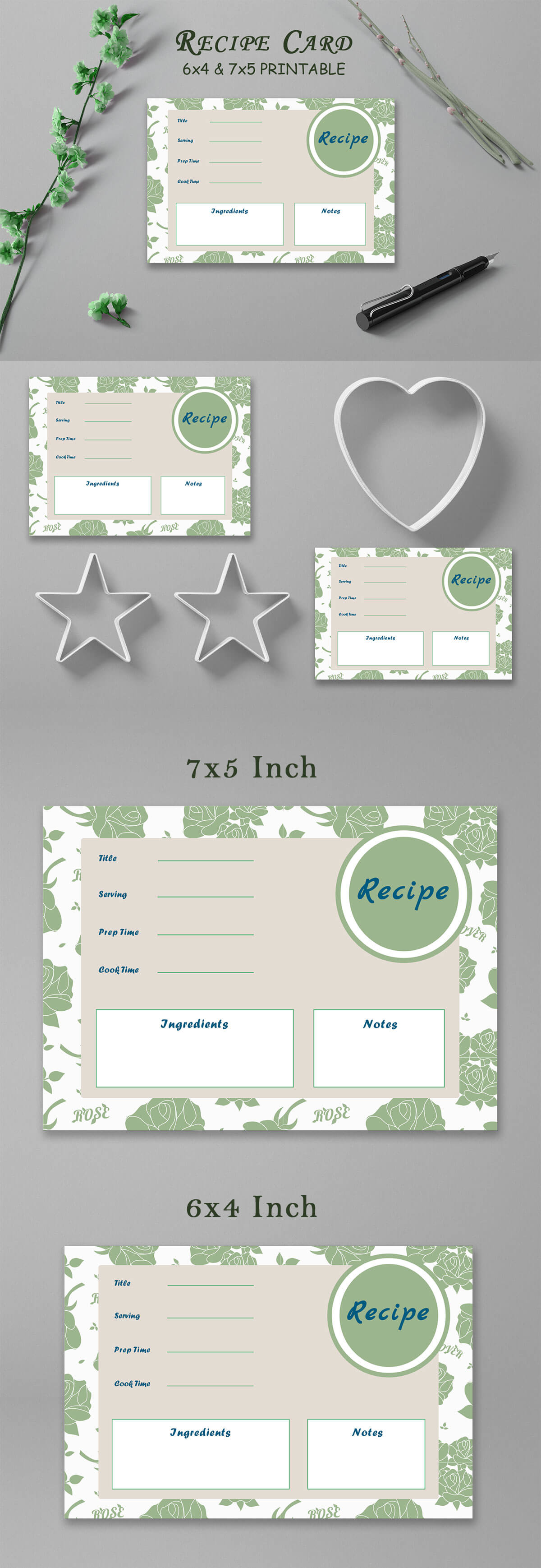 Free Recipe Card Printable Template V17