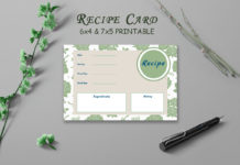 Free Recipe Card Printable Template V17