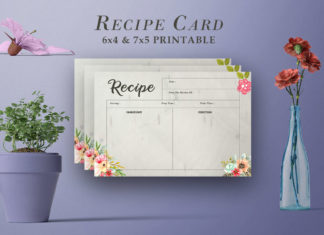 Free Recipe Card Printable Template V18