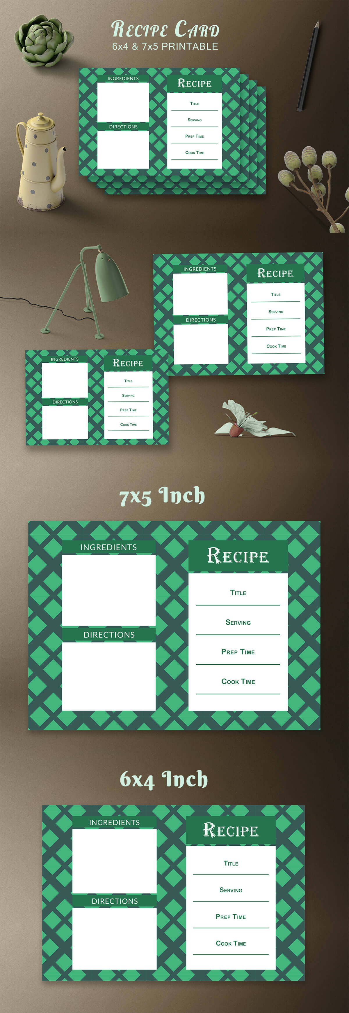 Free Recipe Card Printable Template V19