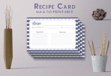 Free Patterned Recipe Card Template V21