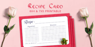 Free Patterned Recipe Card Printable V22