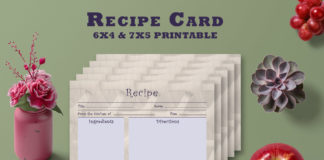 Free Artistic Recipe Card Template V28